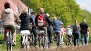 Zingst: Fahrradfahrer und Spaziergänger sind am Herrentag auf dem Deich unterwegs. © dpa-Zentralbild Foto: Bernd Wüstneck