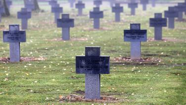 Grabsteine stehen auf einer Kriegsgräberstätte auf dem Neuen Friedhof in Rostock. | dpa