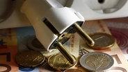Der Stecker einer Mehrfachsteckleiste liegt auf Euro-Geldscheinen und Münzen. © dpa Foto: Jens Büttner