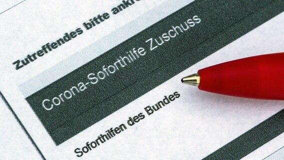 Ein Stift liegt auf einem Antrag für den Corona-Soforthilfe-Zuschuss. © dpa-Bildfunk Foto: Robert Michael
