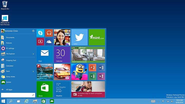 """Ein Screenshot einer """"technischen Vorschau"""" von Microsoft Windows 10. © Microsoft"""