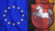 Die Flaggen von Europa und Deutschlandfahne mit dem Niedersachsen-Pferd, dem Hannoveraner. © picture alliance / blickwinkel & picture alliance/imageBROKER Foto: McPHOTO/K. Steinkamp & Wolfgang Diederich