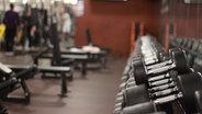 Eine Reihe von Hanteln im Fitnessstudio. © NDR Foto: Celia Borm