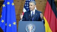 US-Präsident Barack Obama hält eine Rede auf der Hannover Messe. © dpa - Bildfunk Foto: Sebastian Gollnow/dpa