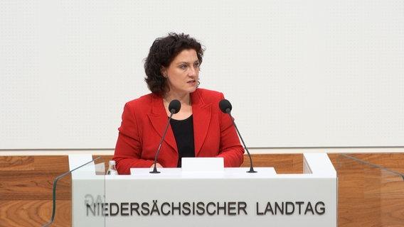 Carola Reimann (SPD) steht an einem Pult im Landtag und spricht. © NDR