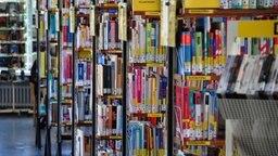 Eine Reihe Bücherregale in einer Bibliothek. © NDR Foto: Thomas Hans