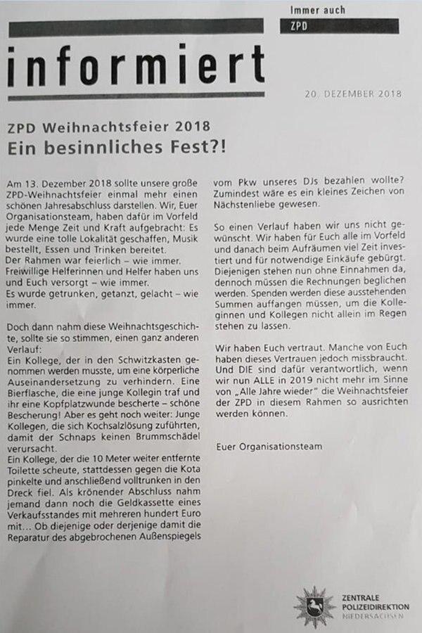 Hannover Weihnachtsfeier Der Polizei Entgleist Ndrde