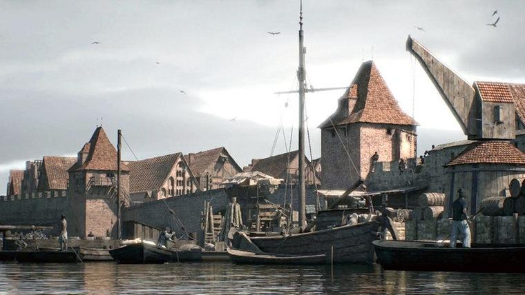 Der Hamburger Hafen im Mittelalter. © NDR/ Farber Courtial Fotograf: Farber Courtial