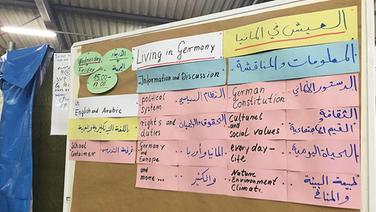Informationen zum Leben in Deutschland hängen auf Englisch uind Arabisch in einer Flüchtlingsunterkunft in Celle aus. © NDR Fotograf: Bertil Starke