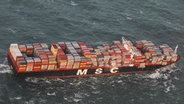 Die MSC ZOE nach Containerverlust in der Nordsee. © picture alliance/Havariekommando/dpa