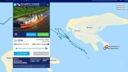 A screenshot of the marinetraffic.com site, the routes of the special ship