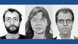 Simulationen wie die RAF Mitglieder Burkhard Garweg, Daniela Klette und Ernst-Volker Staub heute aussehen könnten.