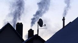 Aus den Schornsteinen mehrere schneebedeckter Wohnhäuser steigt Dampf auf. © dpa/picture alliance Foto: Michael Reichel