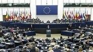 Der polnische Ministerpräsident Mateusz Morawiecki spricht im Europaparlament vor den Abgeordneten. © dpa picture alliance Foto: Maciej Luczniewski