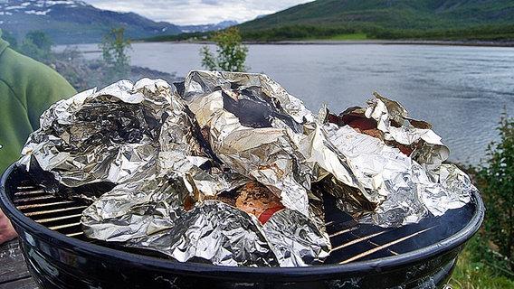 Auf einem Grill liegt Fisch in Alufolie © NDR Foto: Sven Brüggemann
