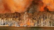 Ein Wald am Lake Conjola in Australien steht in Flammen. © Holly Hudson Foto: Holly Hudson