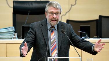 Der Flensburger Historiker Uwe Danker spricht im Landtag von Kiel. | dpa Bildfunk