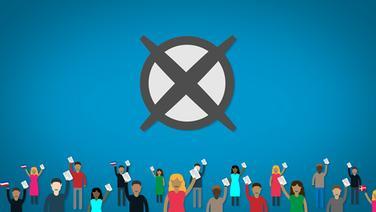 Eine Grafik von Menschen, die einen Wahlzettel halten. © NDR
