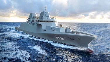Illustration des Marinekampfschiffes MKS180.   Damen Schelde Naval Shipbuilding B.V.