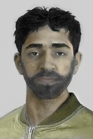 Das Bild zeigt ein Phantombild eines Mannes mit arabischer oder türkischer Herkunft © Polizei Flensburg