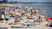 Zahlreiche Badegäste tummeln sich am Ostsee-Strand in Scharbeutz. © dpa-Bildfunk Foto: Georg Wendt