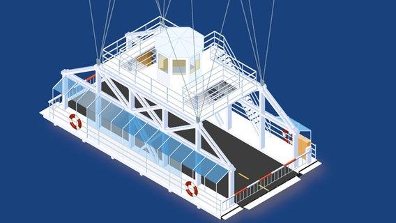 Die Zeichnung zeigt, wie die neue Rendsburger Schwebefähre aussehen soll © WSV
