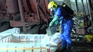A person in protective gear dumps acid into a basin.  © TeleNewsNetwork