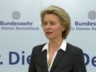 """Ursula von der Leyen bei einer Pressekonferenz zum Thema """"Gorch Fock"""". © NDR Fernsehen"""