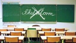 Schultafel mit Wort Schulreform mit Kreide durchgestrichen (Montage) © Fotolia.com Fotograf: Uolir