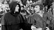 Schauspieler Errol Flynn als Robin Hood mit Schauspielkollege Ian Keith (links) 1938. © picture alliance/Everett Collection Foto: Courtesy Everett Collection