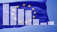 Balkendiagramm vor Europaflagge © colourbox