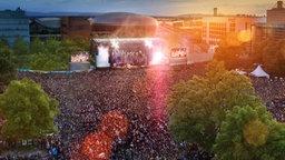 Luftbild des NDR 2 Plaza Festivals in Hannover. © NDR