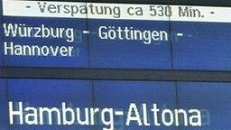 530 Minuten Verspätung stehen auf einer Anzeigetafel der Deutschen Bahn. © privat Fotograf: Dagmar Mohr