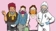 Rosi, Svenni, Bianca und Heiko stehen nebeneinander. Alle tragen bunte Gesichtsmasken.