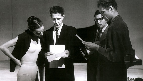 Carolyn Brown, John Cage, David Tudor and Merce Cunningham Studio in 1958 at the NDR (left) NDR © Photographer: Susanne Shapovalov
