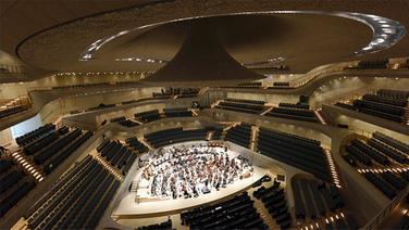 Blick von oben: Das NDR Elbphilharmonie Orchester probt im Großen Saal in der Elbphilharmonie © Elbphilharmonie Fotograf: Michael Zapf