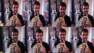Screenshot: Hornist Adrian Diaz Martinez mal acht (im Splitscreen) © NDR Foto: Screenshot