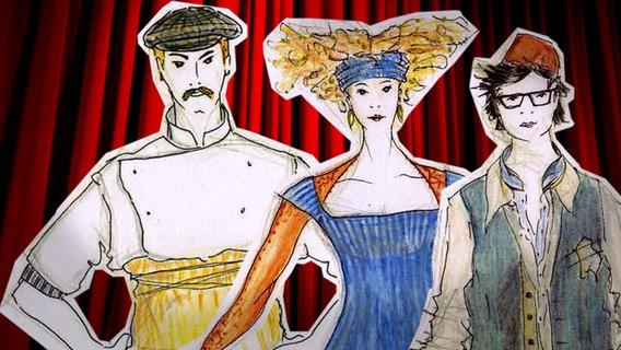 """Figurinen der Kostümbildnerin Susanne Boner für die Uraufführung der Oper """"The Stolen Smells"""" © Susanne Boner"""