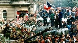 August 1968, Tschechoslowakei, Prag: Protestierer umringen in der Innenstadt sowjetische Panzer und stehen mit einer Fahne der Tschechoslowakei auf einem umgekippten Militärfahrzeug. © picture alliance/Libor Hajsky/CTK via epa/dpa