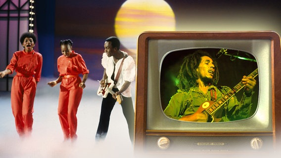 Ein alter Fernseher, auf der Mattscheibe flimmert Bob Marley, dahinter die Gruppe  Boney M (Bildmontage) © picture-alliance / KP, picture-alliance / jazzarchiv, Fotolia/salzlandfoto