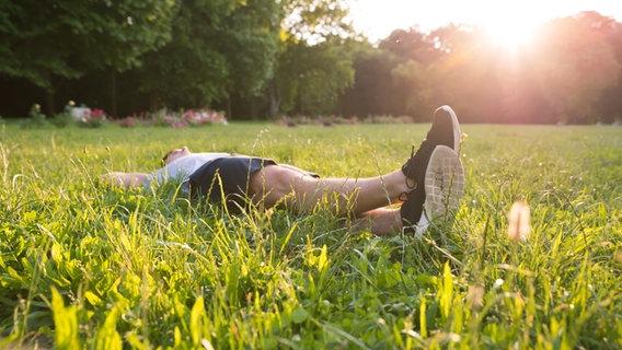 Ein junger Mann liegt auf einer Wiese © fotolia.com Foto: Spektral Design