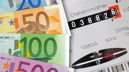 Geldscheine liegen neben einem Stromzähler. © colourbox