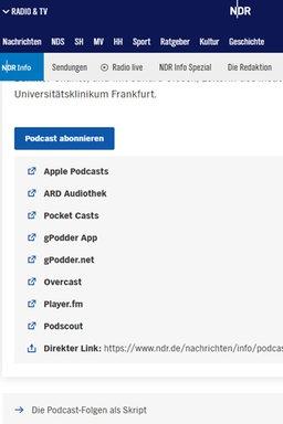 Podcast-Abonnieren-Funktion auf NDR.de