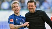 HSV-Profi Lewis Holtby (l.) mit Trainer Christian Titz © Witters