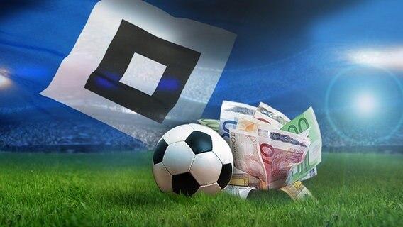 Ein Fußball und Banknoten vor dem HSV-Diamanten (Fotomontage) © fotolia.com, Bild Foto: cornelius, Joachim Wendler