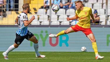Meppens Max Dombrowka (r.) im Spiel gegen 1860 München