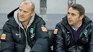 Werder-Manager Klaus Allofs (r.) und Trainer Thomas Schaaf © picture-alliance/ dpa