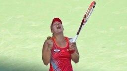 Angelique Kerber nach ihrem Sieg gegen Serena Williams in Cincinnati. © Imago Foto: Imago