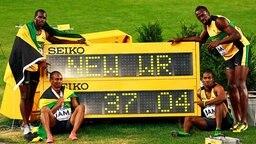 Die jamaikanische 4x100-m-Staffel © dpa - Bildfunk Foto: Jeon Heon-Kyun