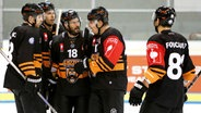Jubel bei den Spielern der Grizzlys Wolfsburg © imago/foto2press